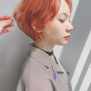 ショート ナチュラル オレンジ ショートヘア ヘアスタイルや髪型の写真・画像