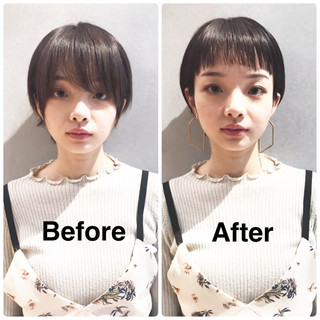ボブヘアー ショートヘア ボブ モード ヘアスタイルや髪型の写真・画像