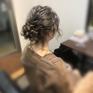 ヘアアレンジ ヘアセット 編み込みヘア ミディアム ヘアスタイルや髪型の写真・画像