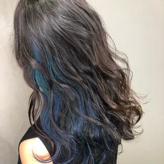 ブルー インナーカラー グラデーションカラー ストリート ヘアスタイルや髪型の写真・画像 ヘアスタイルや髪型の写真・画像