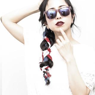 夏 暗髪 ヘアアレンジ ロング ヘアスタイルや髪型の写真・画像