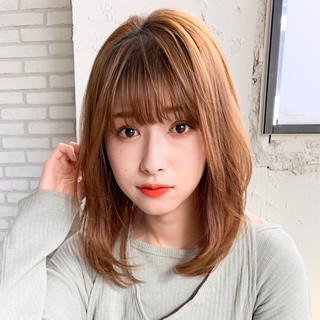 ミディアム シースルーバング 前髪パーマ デジタルパーマ ヘアスタイルや髪型の写真・画像
