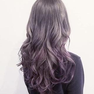 透明感 グラデーションカラー ラベンダーアッシュ ロング ヘアスタイルや髪型の写真・画像