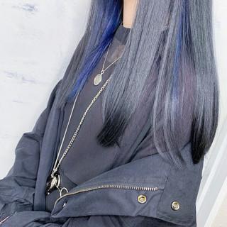 インナーカラー ブルー ロング モード ヘアスタイルや髪型の写真・画像 ヘアスタイルや髪型の写真・画像