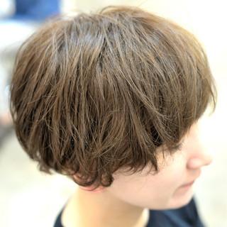 パーマ ボブ アッシュ ナチュラル ヘアスタイルや髪型の写真・画像