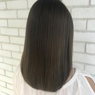 艶髪 縮毛矯正 ナチュラル ミディアム ヘアスタイルや髪型の写真・画像