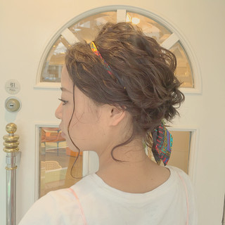 編み込み ヘアアレンジ ゆるふわ ボブ ヘアスタイルや髪型の写真・画像 ヘアスタイルや髪型の写真・画像