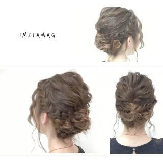セミロング 波ウェーブ ヘアアレンジ 愛され ヘアスタイルや髪型の写真・画像