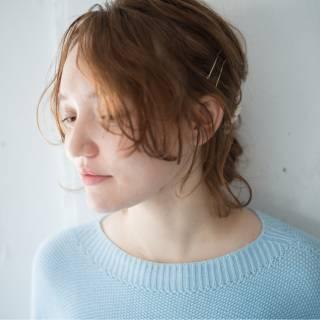 シースルーバング ナチュラル フェミニン ヘアアレンジ ヘアスタイルや髪型の写真・画像