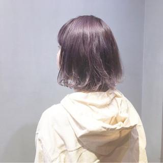 ラベンダーピンク ピンクバイオレット ストリート パープルカラー ヘアスタイルや髪型の写真・画像
