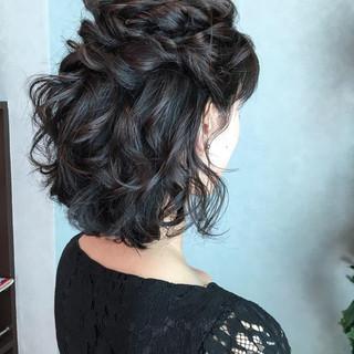 ボブ エレガント ヘアアレンジ 結婚式 ヘアスタイルや髪型の写真・画像