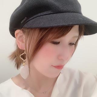 キャスケット 簡単ヘアアレンジ ガーリー セルフアレンジ ヘアスタイルや髪型の写真・画像