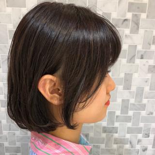 透明感カラー ボブ デート フェミニン ヘアスタイルや髪型の写真・画像