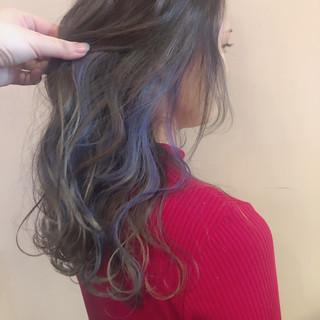 ユニコーンカラー ヘアアレンジ インナーカラー フェミニン ヘアスタイルや髪型の写真・画像 ヘアスタイルや髪型の写真・画像