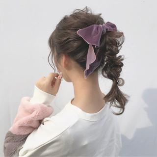 セミロング ガーリー ヘアアレンジ デート ヘアスタイルや髪型の写真・画像 ヘアスタイルや髪型の写真・画像