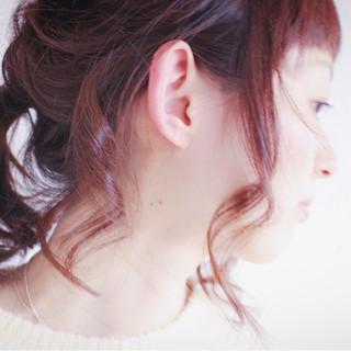 ヘアアレンジ ロング 簡単ヘアアレンジ ピンク ヘアスタイルや髪型の写真・画像