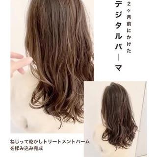 アンニュイほつれヘア ナチュラル パーマ グレージュ ヘアスタイルや髪型の写真・画像