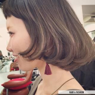 ガーリー ボブ ショートバング オン眉 ヘアスタイルや髪型の写真・画像 ヘアスタイルや髪型の写真・画像