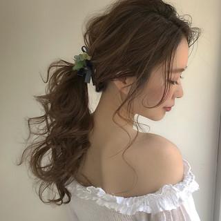フェミニン ロング デート 簡単ヘアアレンジ ヘアスタイルや髪型の写真・画像