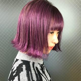 デザインカラー ボブ うる艶カラー ブリーチカラー ヘアスタイルや髪型の写真・画像