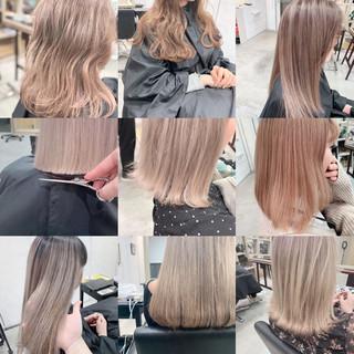 セミロング ピンクベージュ ブラウンベージュ シアーベージュ ヘアスタイルや髪型の写真・画像
