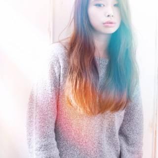 抜け感 モード ウェーブ ロング ヘアスタイルや髪型の写真・画像
