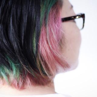 ナチュラル ボブ ピンク インナーカラー ヘアスタイルや髪型の写真・画像