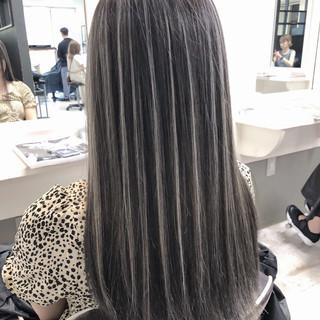 ハイライト ストリート セミロング バレイヤージュ ヘアスタイルや髪型の写真・画像