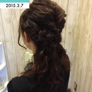 ハーフアップ ヘアアレンジ ナチュラル ゆるふわ ヘアスタイルや髪型の写真・画像