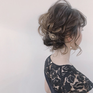 結婚式 ナチュラル ボブ ゆるふわ ヘアスタイルや髪型の写真・画像 ヘアスタイルや髪型の写真・画像