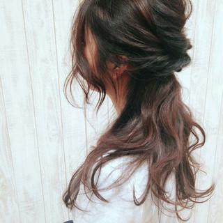 カール グラデーションカラー ヘアアレンジ ロング ヘアスタイルや髪型の写真・画像