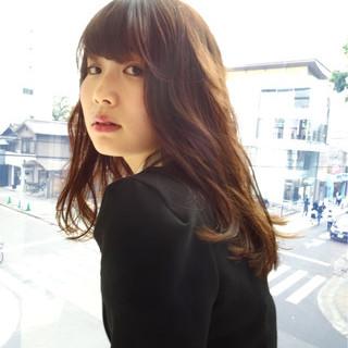 ゆるふわ セミロング かわいい 斜め前髪 ヘアスタイルや髪型の写真・画像