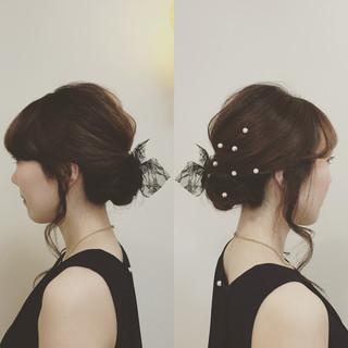 セミロング アップスタイル 結婚式 ヘアアレンジ ヘアスタイルや髪型の写真・画像