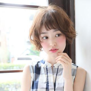 ショート パーマ 小顔 簡単 ヘアスタイルや髪型の写真・画像