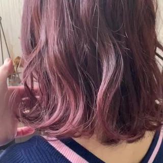 ピンクアッシュ ナチュラル インナーカラー ラベンダーピンク ヘアスタイルや髪型の写真・画像