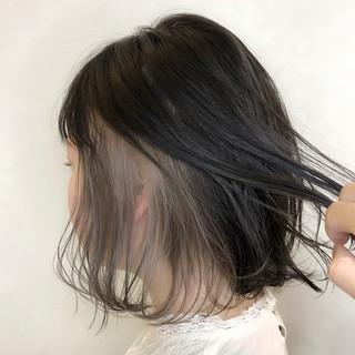 インナーカラー ボブ インナーカラーホワイト インナーカラーシルバー ヘアスタイルや髪型の写真・画像