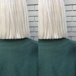 ブリーチ ホワイト ホワイトシルバー ボブ ヘアスタイルや髪型の写真・画像