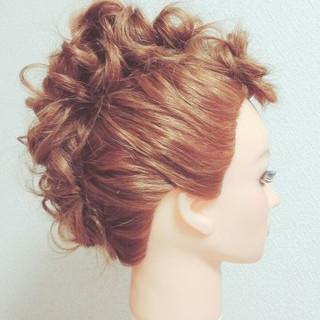 セミロング 夏 結婚式 大人かわいい ヘアスタイルや髪型の写真・画像