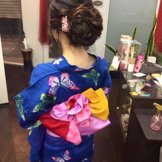 デート 簡単ヘアアレンジ ナチュラル 浴衣アレンジ ヘアスタイルや髪型の写真・画像