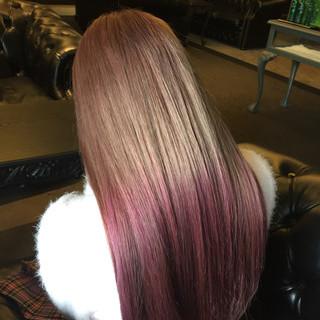ピンクアッシュ ピンク グラデーションカラー ストリート ヘアスタイルや髪型の写真・画像