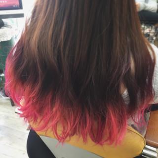 ピンク パープル ロング ブリーチ ヘアスタイルや髪型の写真・画像