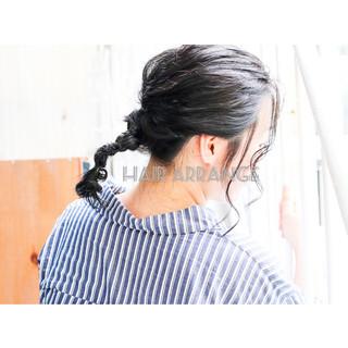 ネイビーブルー ナチュラル アッシュグレー ミディアム ヘアスタイルや髪型の写真・画像