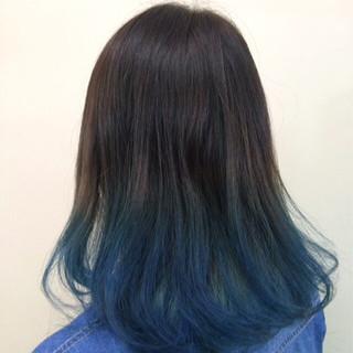 ブルー グラデーションカラー ミディアム ストリート ヘアスタイルや髪型の写真・画像