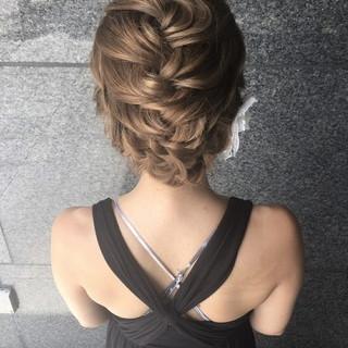 セミロング 結婚式 編み込み ヘアアレンジ ヘアスタイルや髪型の写真・画像 ヘアスタイルや髪型の写真・画像