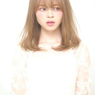 かわいい 大人女子 ナチュラル セミロング ヘアスタイルや髪型の写真・画像