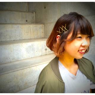 グラデーションカラー ワンカール ヘアアレンジ ヘアピン ヘアスタイルや髪型の写真・画像 ヘアスタイルや髪型の写真・画像