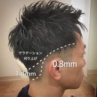 フェードカット メンズ アップバング ストリート ヘアスタイルや髪型の写真・画像