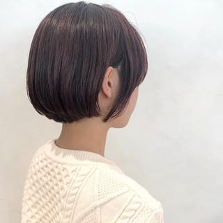 ナチュラル ミニボブ ショートボブ ラベンダーピンク ヘアスタイルや髪型の写真・画像