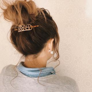 波ウェーブ デート お団子 ヘアアレンジ ヘアスタイルや髪型の写真・画像 ヘアスタイルや髪型の写真・画像