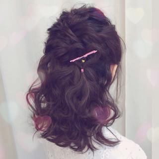 フェミニン セミロング ショート 黒髪 ヘアスタイルや髪型の写真・画像